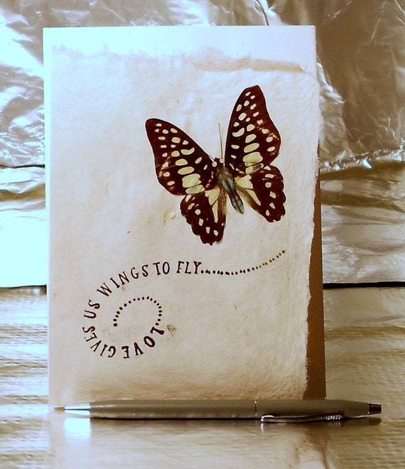 Ivory HandMade Paper Note Card with Butterfly Stamped with Love PM-LoveNo. 3