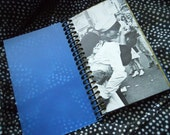 Small Note / Sketch Book - Transparent Blue Book w/Black Coil - Recycled Materials