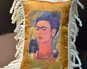 Frida Kahlo Mixed Media Mexican Arte Small Pillow ..(1pillow)..In A Series of Four Separate Listings