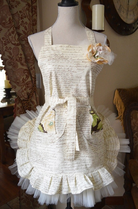 French Postale Document Inspired  Apron w/Tulle