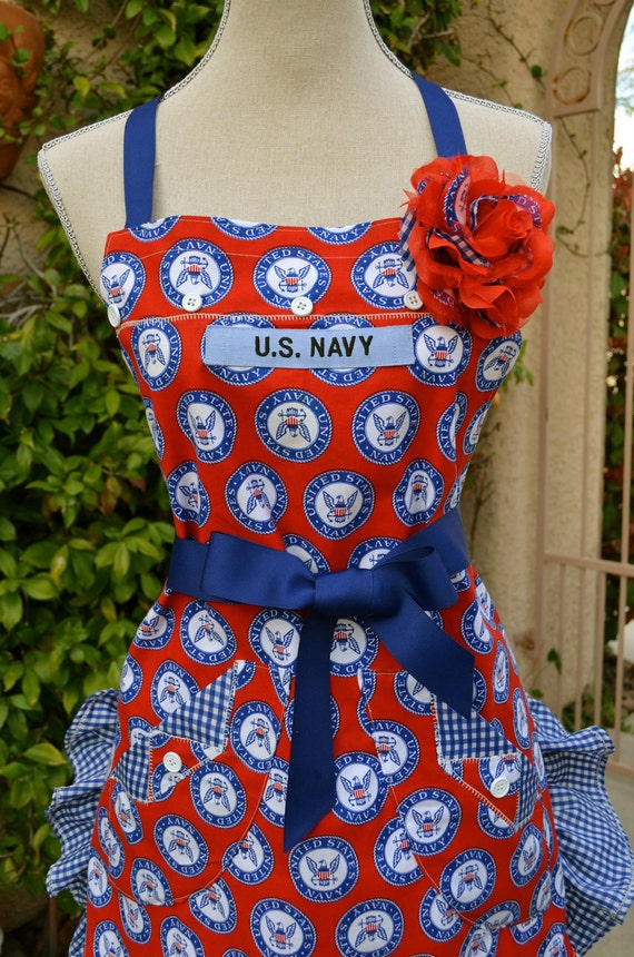 Don't Give Up The Ship ....Navy Inspired Print Apron