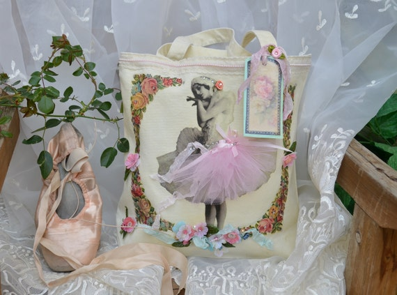Prima Ballerina Embellished Shabby Chic Canvas Tote Bag