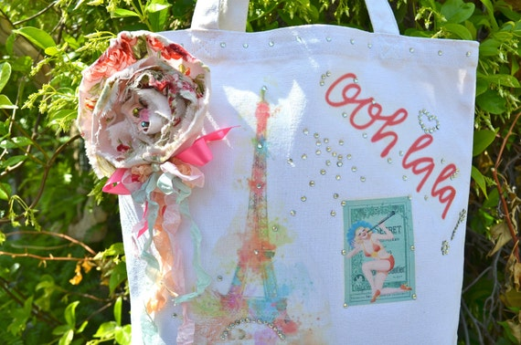 Ooh Lala Paris Shabby Chic Tote Bag With Flower Pin