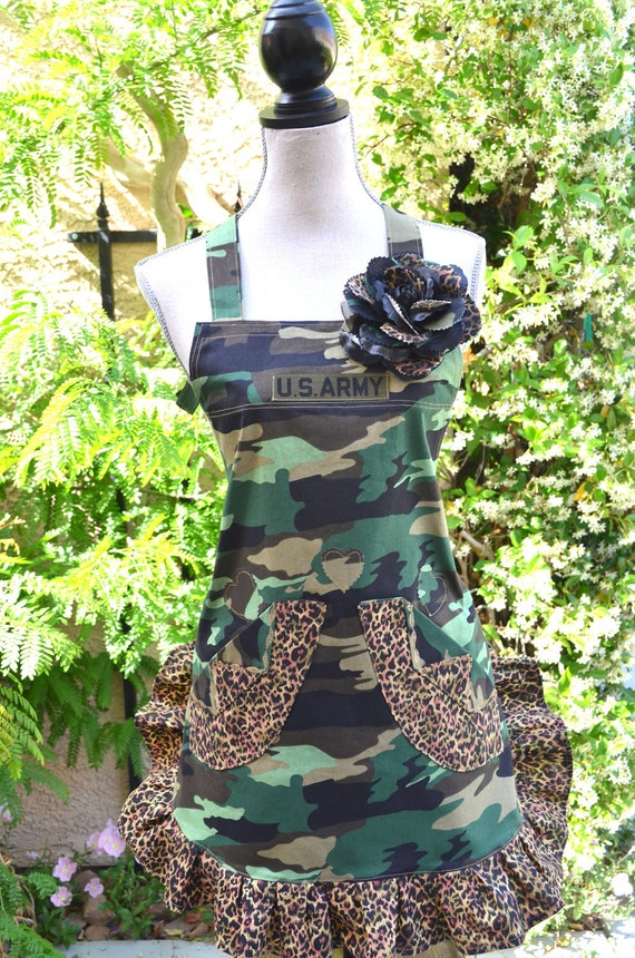 Your in the Army Now... Military Inspired Camouflage and Leopard Print  Apron With Rose Pin