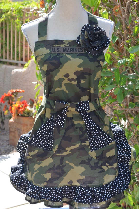 OoohhRahhh...Marine Military Inspired Camouflage And Polka Dot Print  Apron With Rose Pin