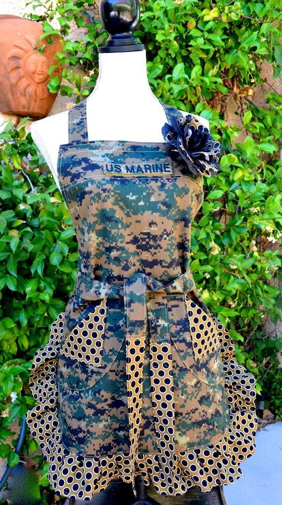 Military Digi Camouflage Print with Polka a dot Ruffle - Removable Marine Tape