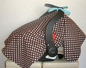 Baby Car Seat Cover/Canopy - Brown With White Polka Dots