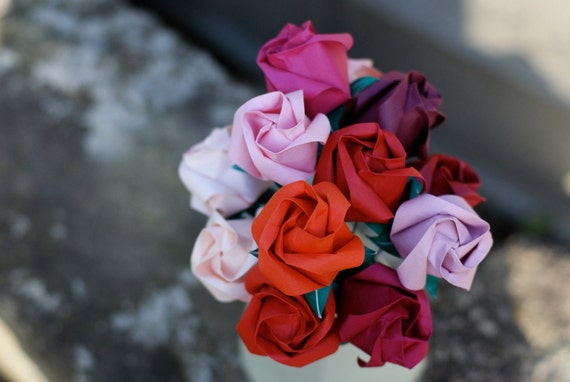 Be My Valentine- One Dozen Origami Roses in Shades of Red and Pink
