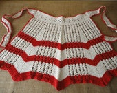 Vintage Crocheted Apron in Off White and Red - Retro House Wife Baking