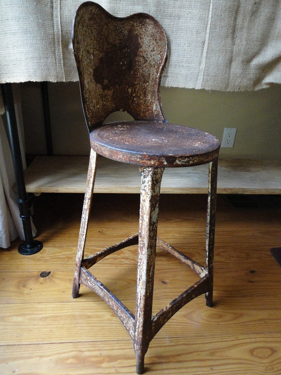 The Best Rusty Chippy Patina Childs Stool/ CountryGarden/ Shabby Chic/ Paris Apt/ Farm Home/ Industrial Loft