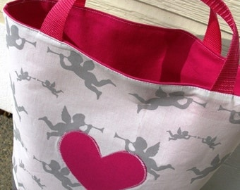 Sturdy Cotton Tote, cupids, appliqué heart