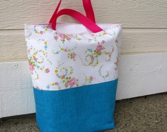 Tote Bag, Floral and Blue, Repurposed Pillowcase