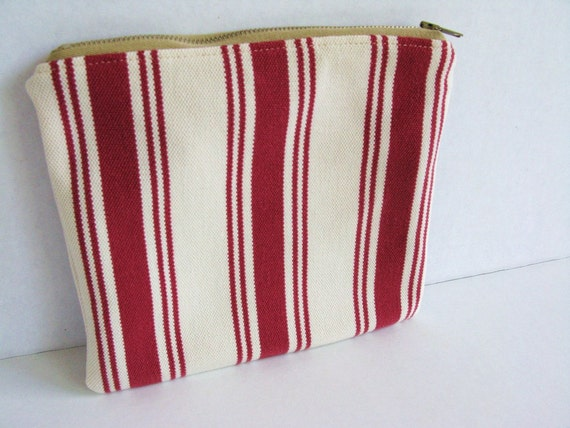 Cotton Zip Pouch, Repurposed Mens Clothing