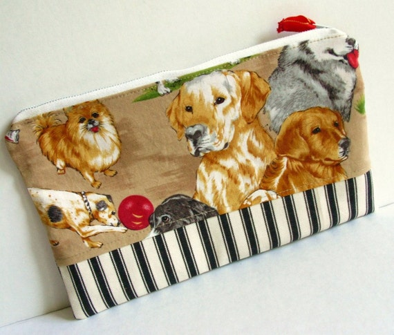 Dogs Cotton Zip Pouch
