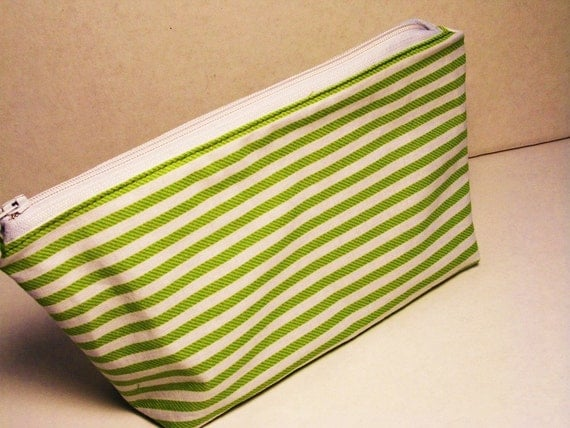 Zip Pouch, Cotton, Green and White, Striped