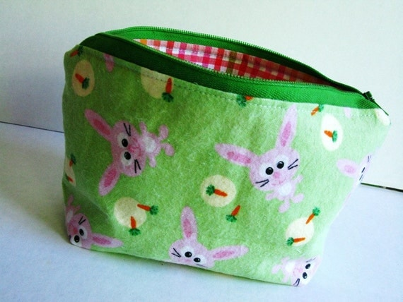 Cotton Zip Pouch, Flannel, Green and Pink, Bunnies and Carrots