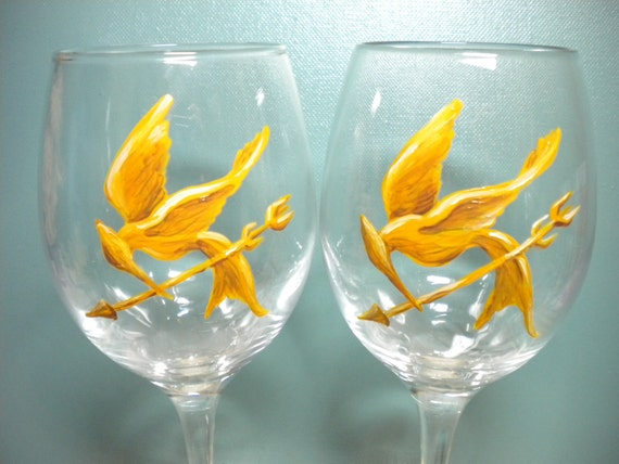 Katniss and Peeta Hunger Games Pair of Wine Glasses