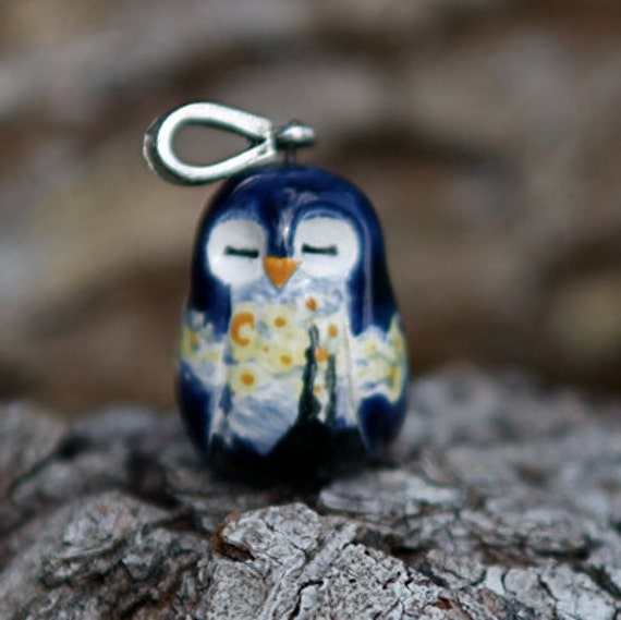 RESERVED FOR PHILIP Starry Night Owl Necklace: