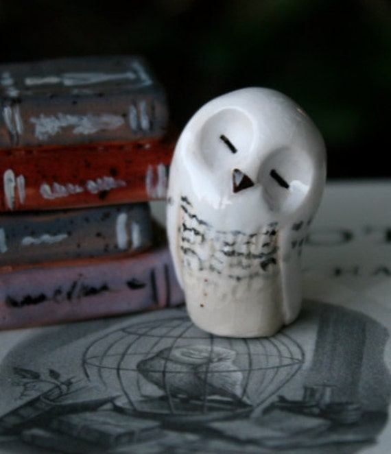 Hedwig the clay Snowy Owl: Harry Potter Inspired Owlery