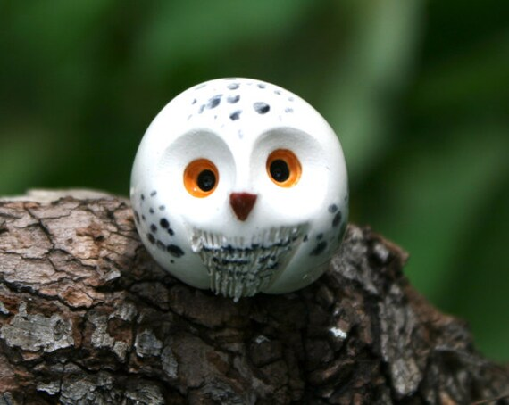 RESERVED for KRUM: Hedwig the Snowy Clay Owl Harry Potter Inspired Owlery Miniature