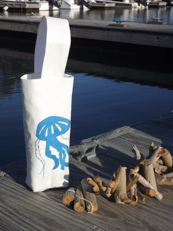 Recycled Sail Wine Tote Jelly Fish SALE