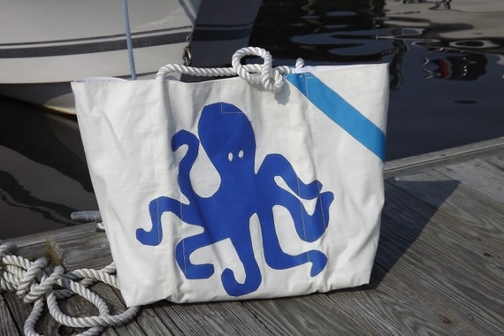 Recycled Sail Tote Bag Large Octopus and Starfish % SALE