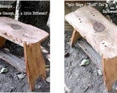 MiLKiNG STOOL / Lil' BENCH - FRee SHiP - Country Primitive - Sm SPLiT Wood~Rough Edges Bench - Mud Room Bench - Down Home Style - C Dtails