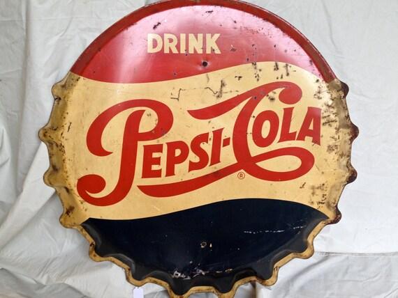 Vintage Pepsi Bottle Cap Sign