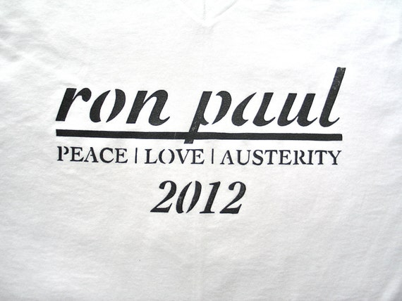 Hand Pulled Ron Paul 2012 Cotton V-Neck T-Shirt (Small)