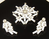 Vintage Signed Weiss Snowflake Brooch and Earrings