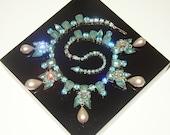 Vintage Seafoam Blue Rhinestone & Faux Pearl Drop Necklace