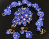 Vintage Plastic Purple Rhinestone Flower Brooch Bracelet & Earrings