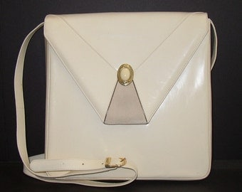 Vintage Bally Handbag Purse Cream White Leather Suede