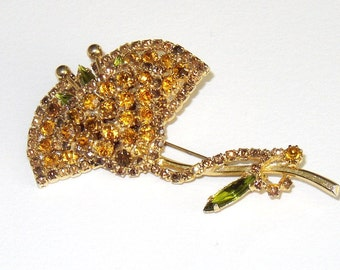 Vintage Pave Rhinestone 3D Flower Brooch