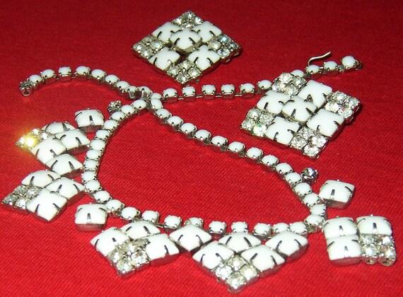 Vintage Milk Glass Rhinestone Choker Necklace & Clip On Earrings