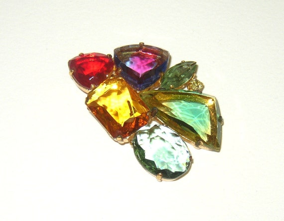 Vintage Signed Two Tone Art Glass Rhinestone Brooch Made In West Germany