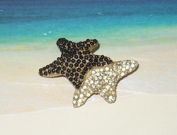 Signed Hattie Carnegie Starfish Cabochon Rhinestone Brooch