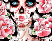 Fever - Day of the Dead Sugar Skull Girl With Tattoo Roses Art Print By Carissa Rose Tattoo Art Signed Print 5x7, 8x10, or Apprx 11x14
