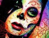 Pop Art Day of the Dead Sugar Skull Girl Portrait Signed Art Print - Dead Inside by Carissa Rose - Sugar Skull Tattoo PopArt Colorful