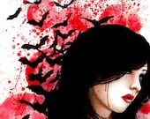 Dark Outsider Art Print Horror Portrait with bats Sanguine 5x7, 8x10, or 11x14 Red Blood Splatter Macabre Signed Art Print