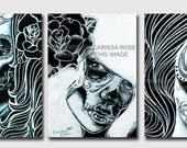 Set of THREE Signed Art Prints - Black and White Day of the Dead Portraits - Tattoo Art Home Decor - 5x7, 8x10, or Apprx 11x14