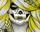 Spectrum Series - Yellow Dia De Los Muertos Sugar Skull Girl Art Print By Carissa Rose apprx 11x14