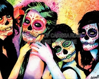 Day of the Dead Sugar Skull Girls Modern Pop Art Print by Carissa Rose  5x7 or 10x13.75 Colorful Rainbow Tattoo Art Popart Signed Print