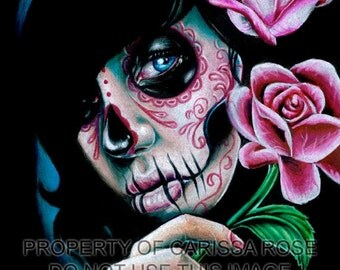 Dia De Los Muertos Sugar Skull Girl With Roses Portrait Art Print - Evening Bloom By Carissa Rose Hand Signed 5x7, 8x10, or Apprx 11x14 In.