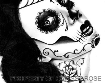 Day of the Dead Signed Art Print Sugar Skull Girl Black and White Drawing - Girl With the Neck Tattoo By Carissa Rose Lowbrow Outsider Art