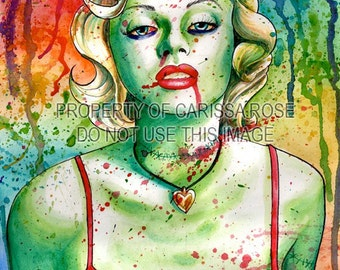 Marilyn Monroe Zombie Doll Undead Portrait Signed Art Print by Carissa Rose - Poster 5x7, 8x10, or 11x14 inch - Alternative Lowbrow Art