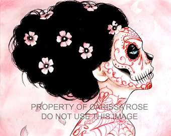 Day of the Dead Inspired Tattooed Sugar Skull Girl You Can Never Tell Signed Art Print 5x7, 8x10, or 11x14