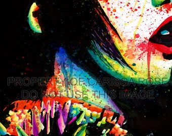Punk Rock Signed Art Print Edgy Rainbow Colorful Wall Art - Shes Abrasive Artist 5x7, 8x10, or 11x14 in Art Print by Carissa Rose