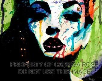 PopArt Hand Signed Colorful Art Print Fashion Horror Rainbow Portrait  Decor- The Horrible  Secret - Home Decor 5x7, 8x10, and 11x14