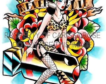 Tattoo Art Print - Atomic Pin Up Girl - Never Die Art Print By Carissa Rose 5x7, 8x10, or 10.5 x13.75 in